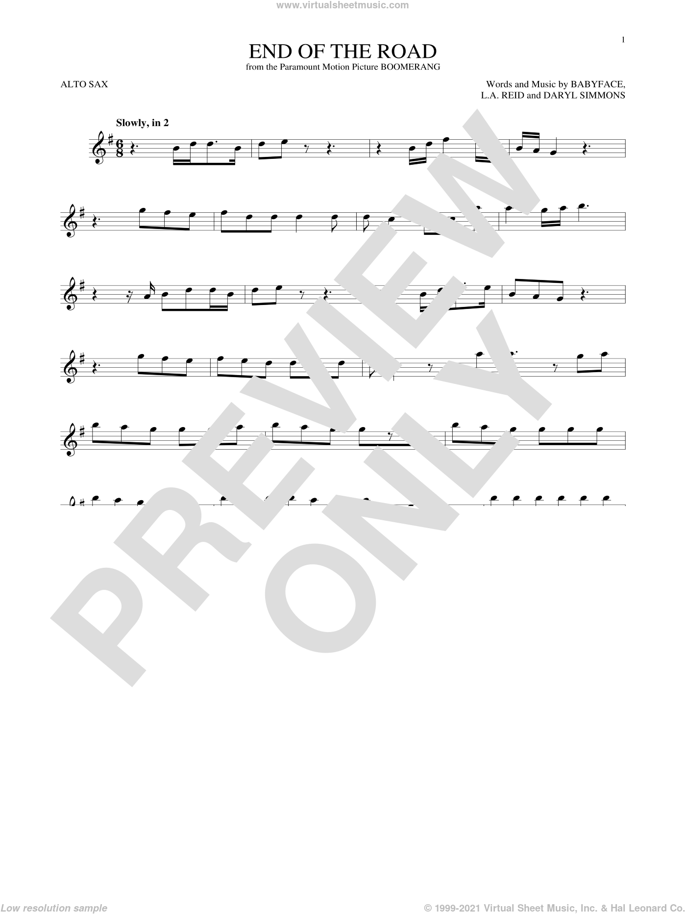 End Of The Road sheet music for alto saxophone solo ( Sax) by L.A. Reid, Boyz II Men, Babyface and Daryl Simmons. Score Image Preview.