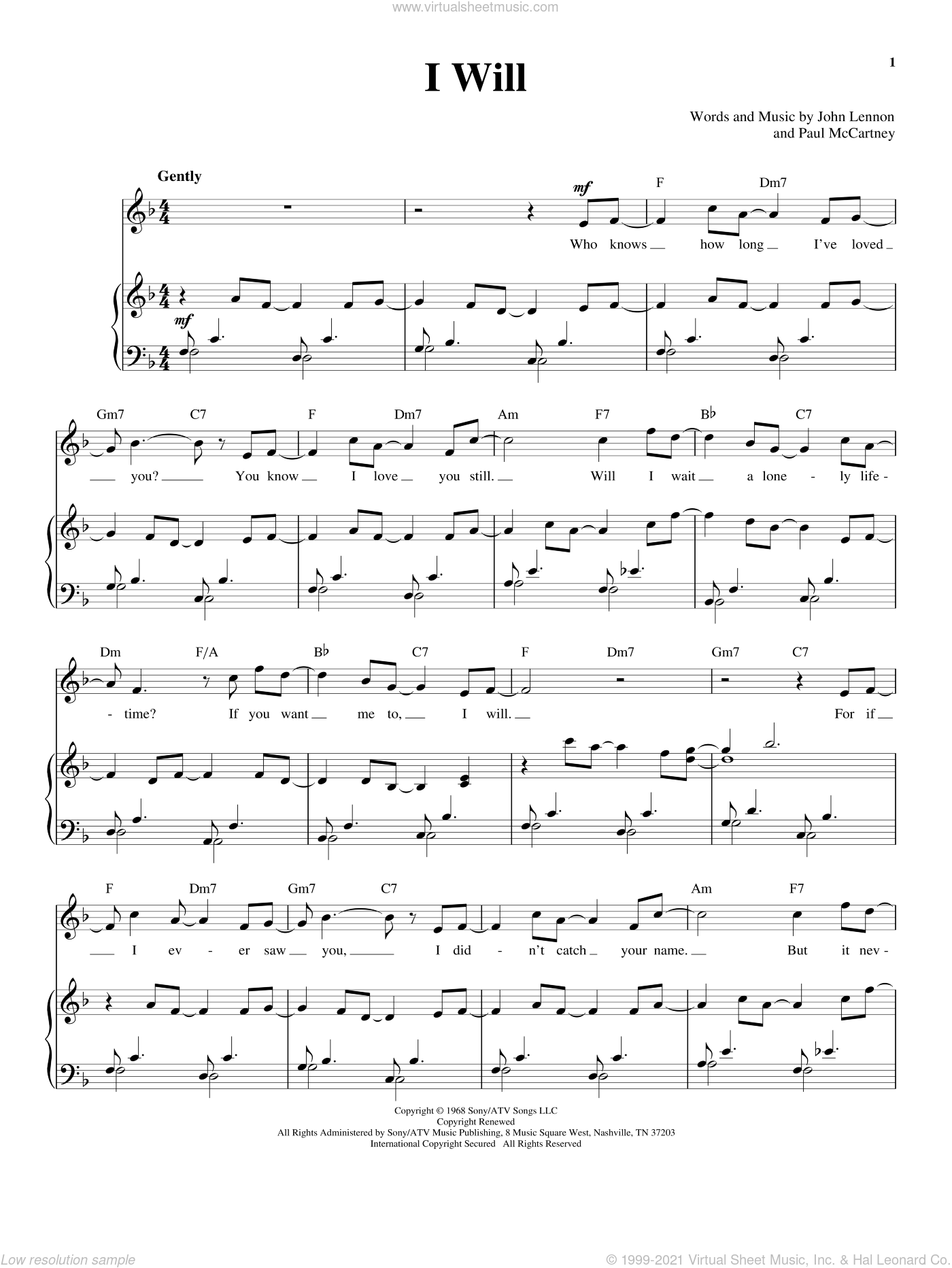 I Will sheet music for voice and piano by The Beatles, John Lennon and Paul McCartney, wedding score, intermediate skill level