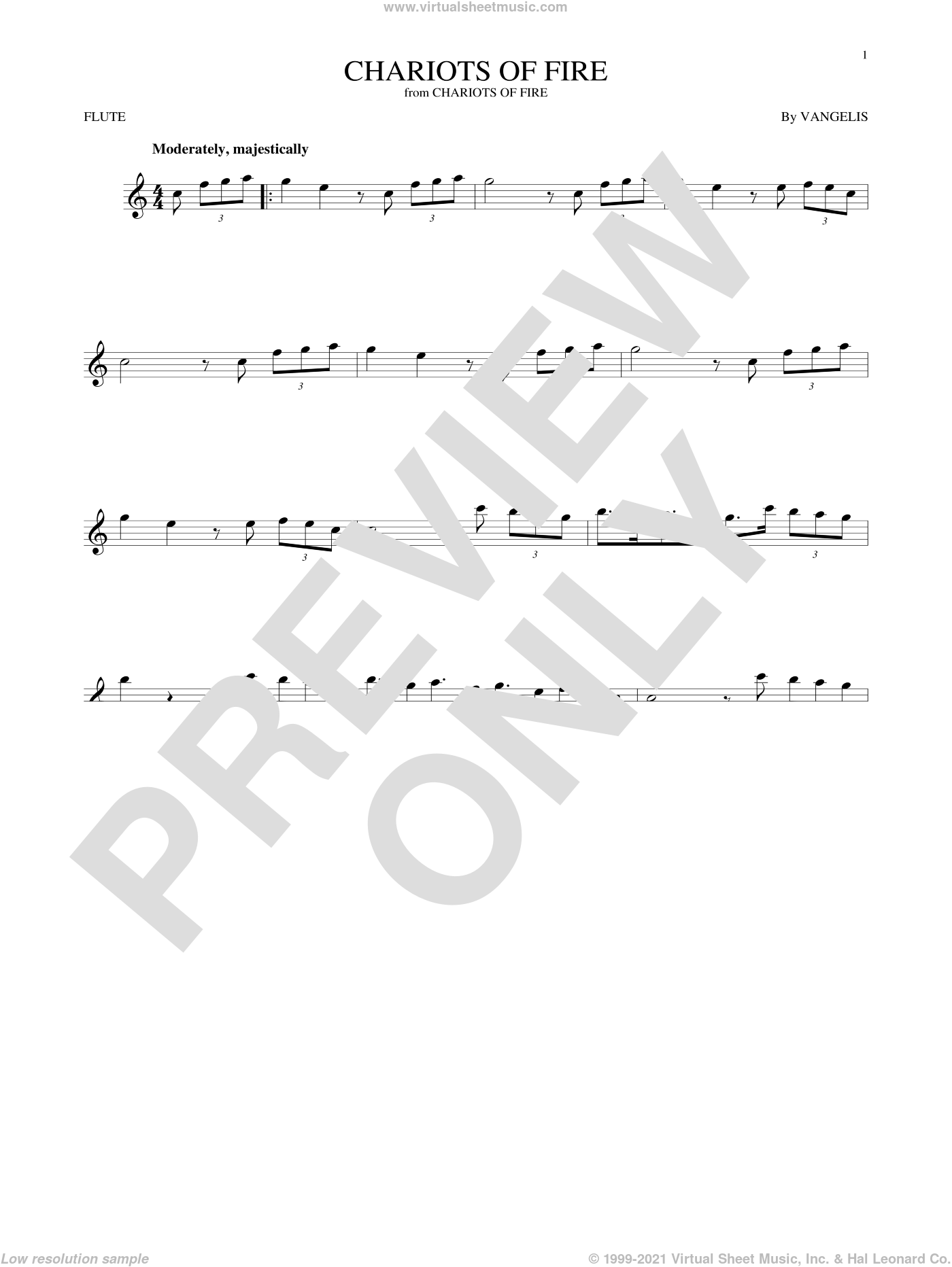Chariots Of Fire sheet music for flute solo by Vangelis, intermediate flute. Score Image Preview.