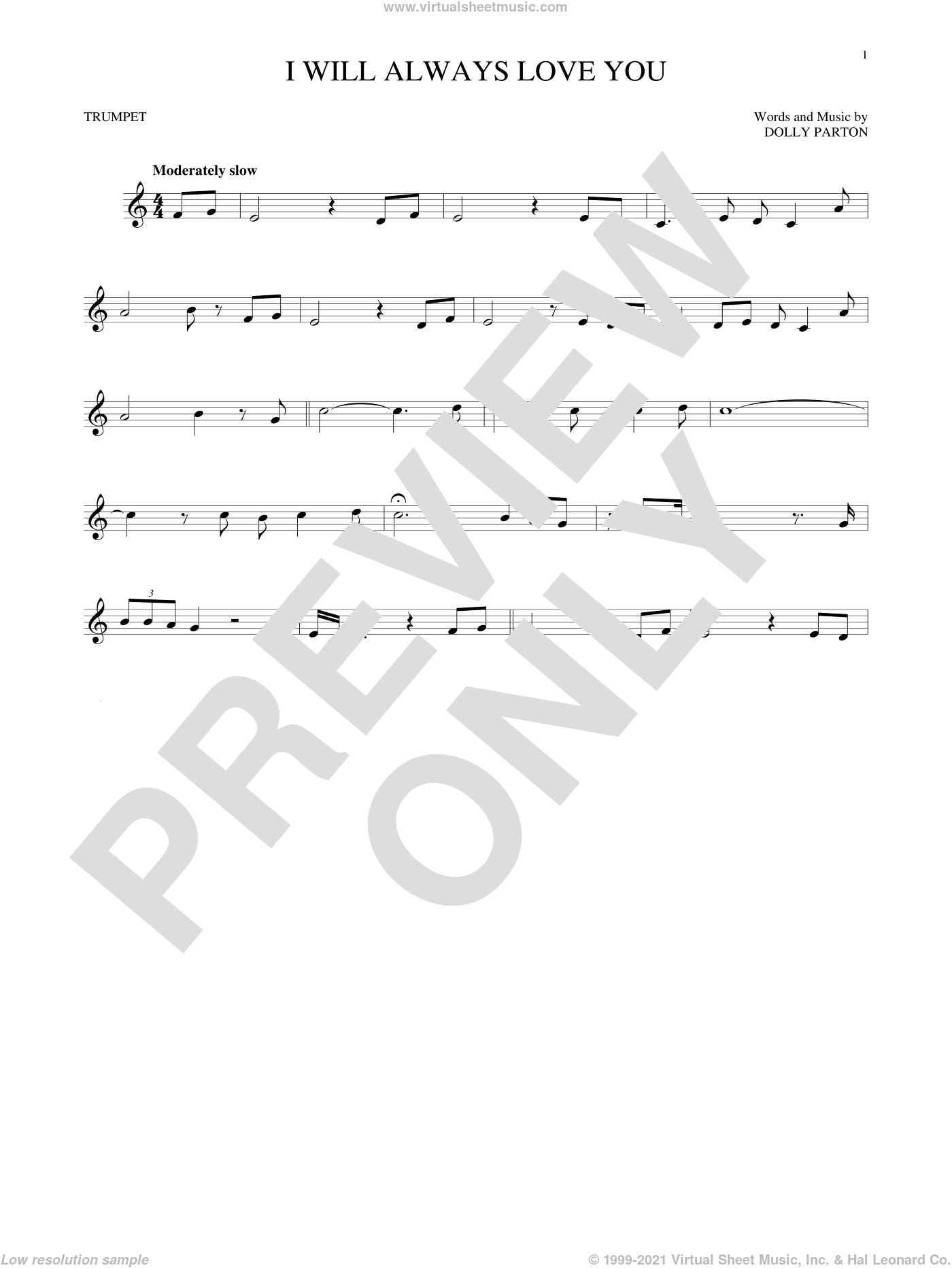 I Will Always Love You sheet music for trumpet solo by Whitney Houston and Dolly Parton, wedding score, intermediate skill level
