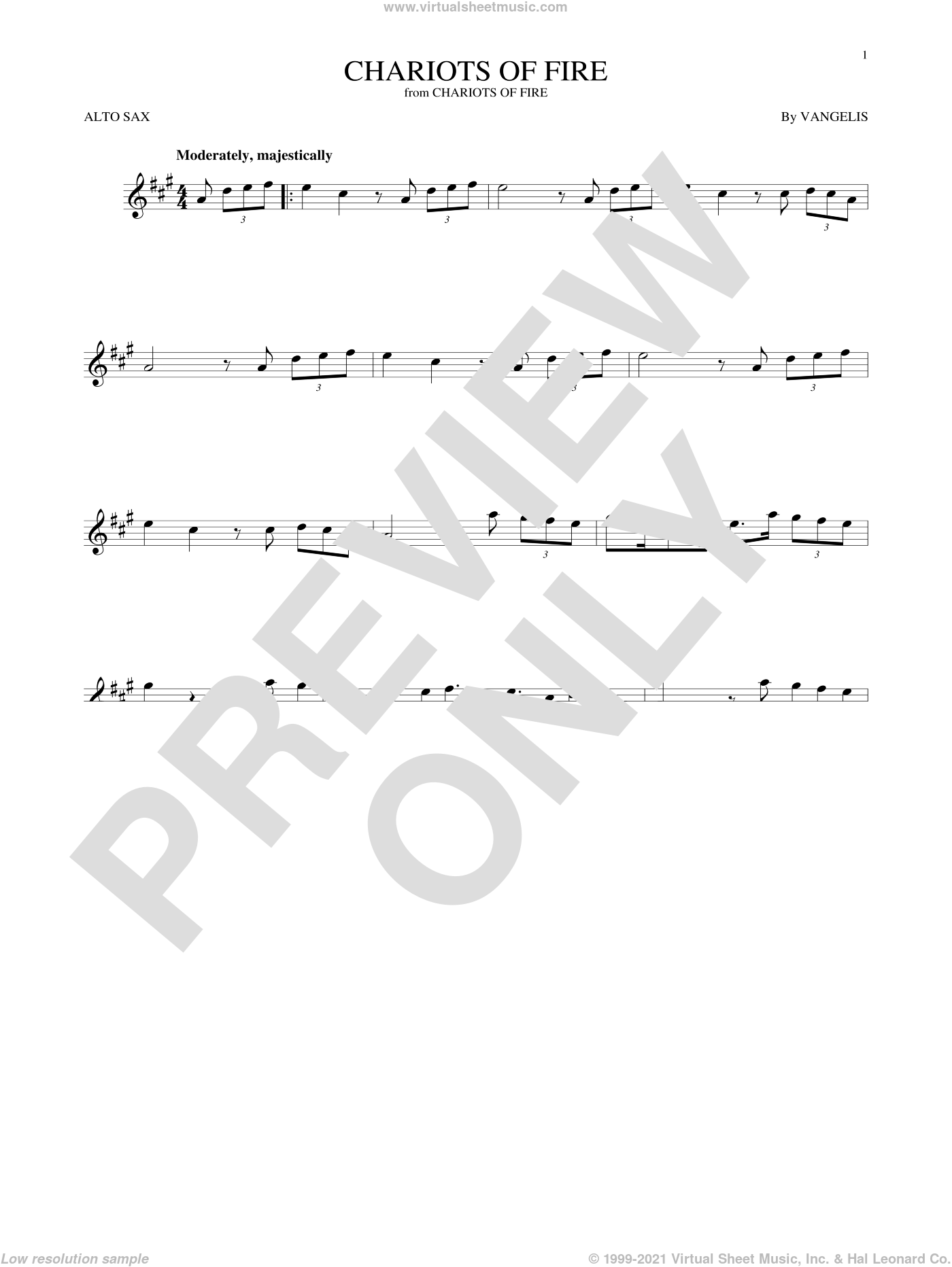 Chariots Of Fire sheet music for alto saxophone solo ( Sax) by Vangelis. Score Image Preview.