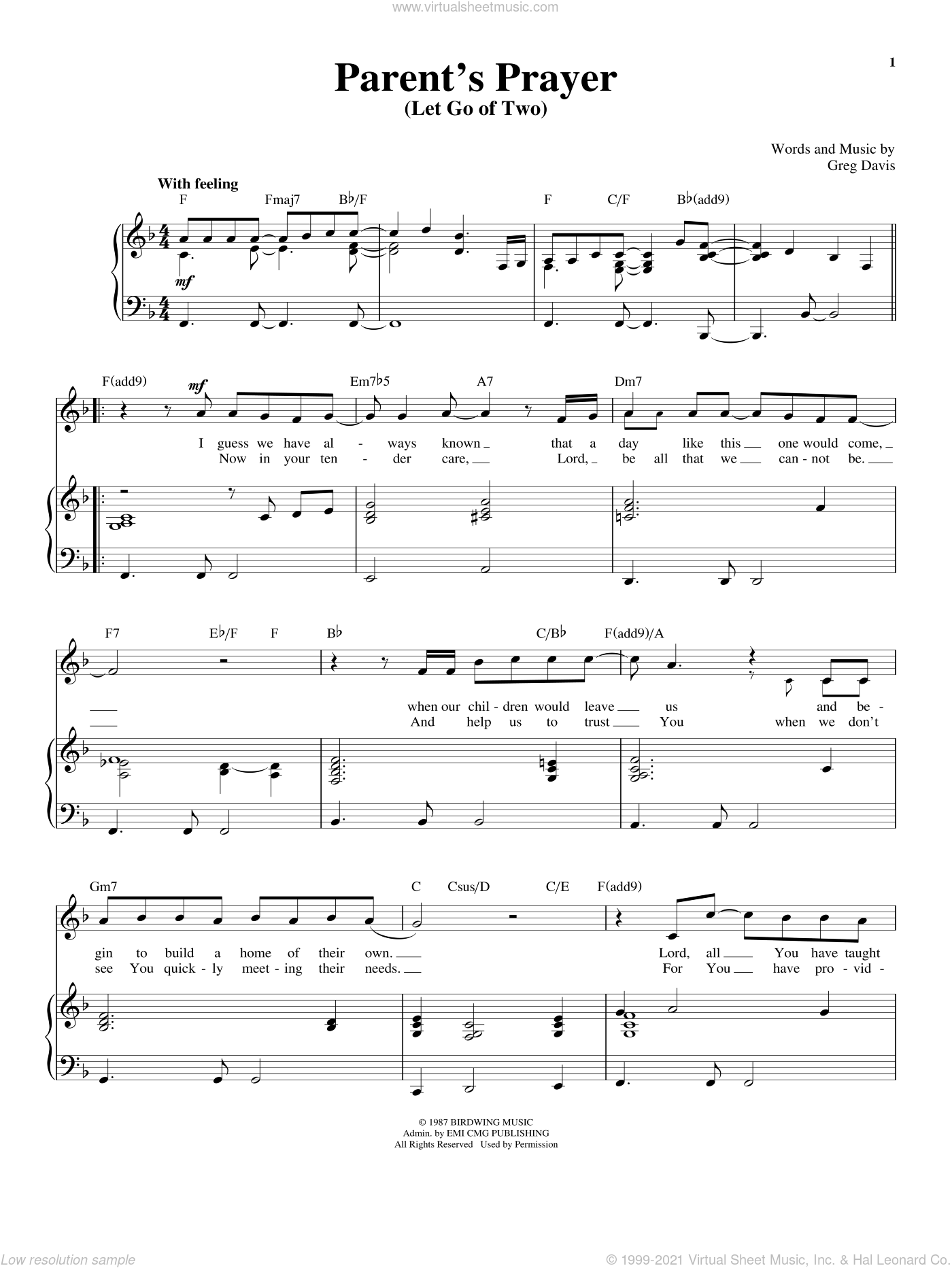 Parent's Prayer (Let Go Of Two) sheet music for voice and piano by Greg Davis and Richard Walters, wedding score, intermediate skill level