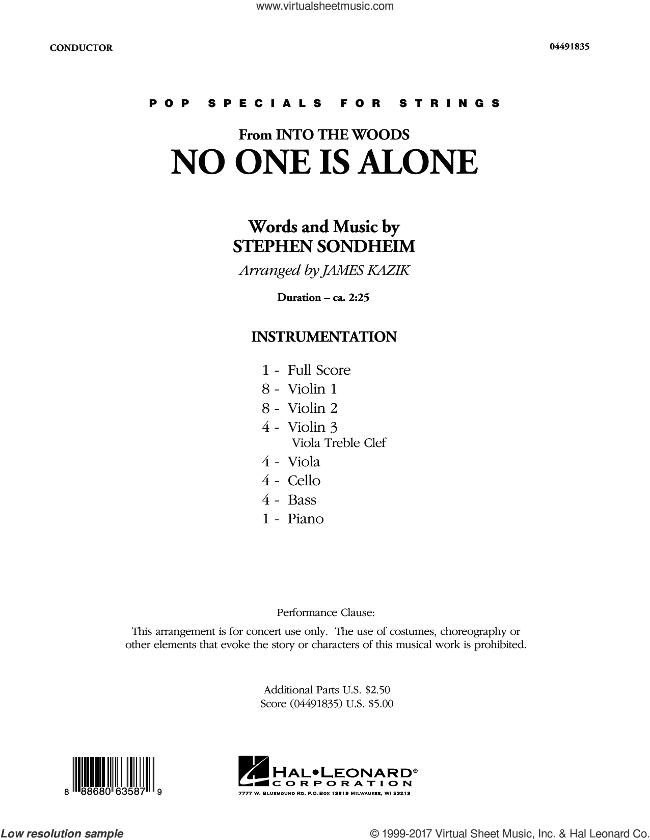 No One Is Alone (from Into The Woods) (COMPLETE) sheet music for orchestra by Stephen Sondheim and James Kazik, intermediate skill level
