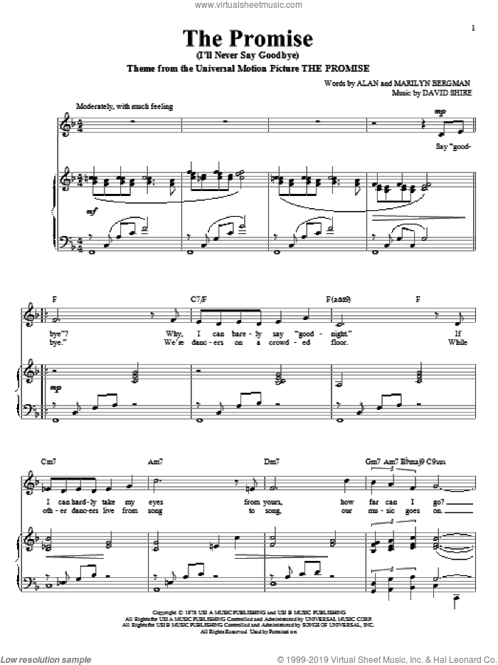 The Promise (I'll Never Say Goodbye) sheet music for voice and piano by Alan Bergman, Richard Walters, David Shire and Marilyn Bergman, wedding score, intermediate skill level