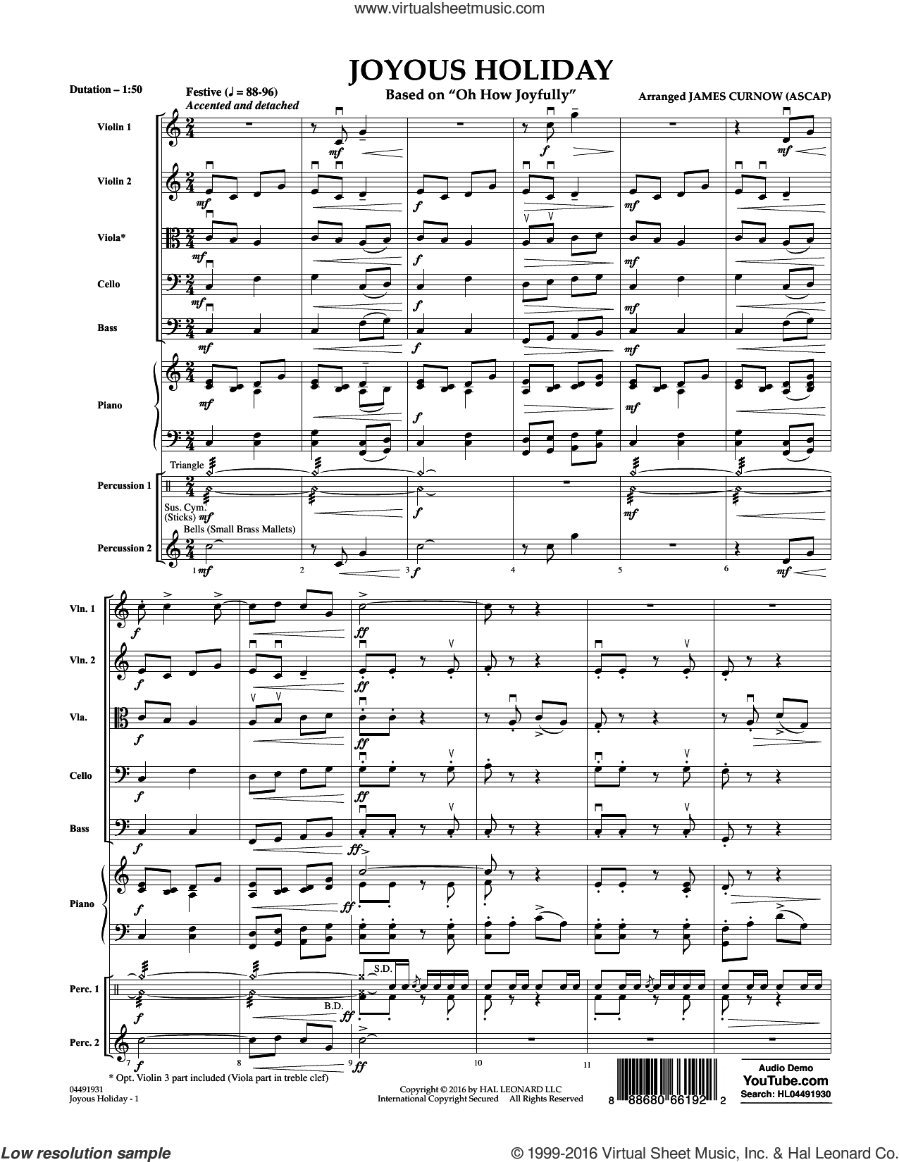 Joyous Holiday (based on Oh How Joyfully) sheet music for orchestra (full score) by James Curnow. Score Image Preview.