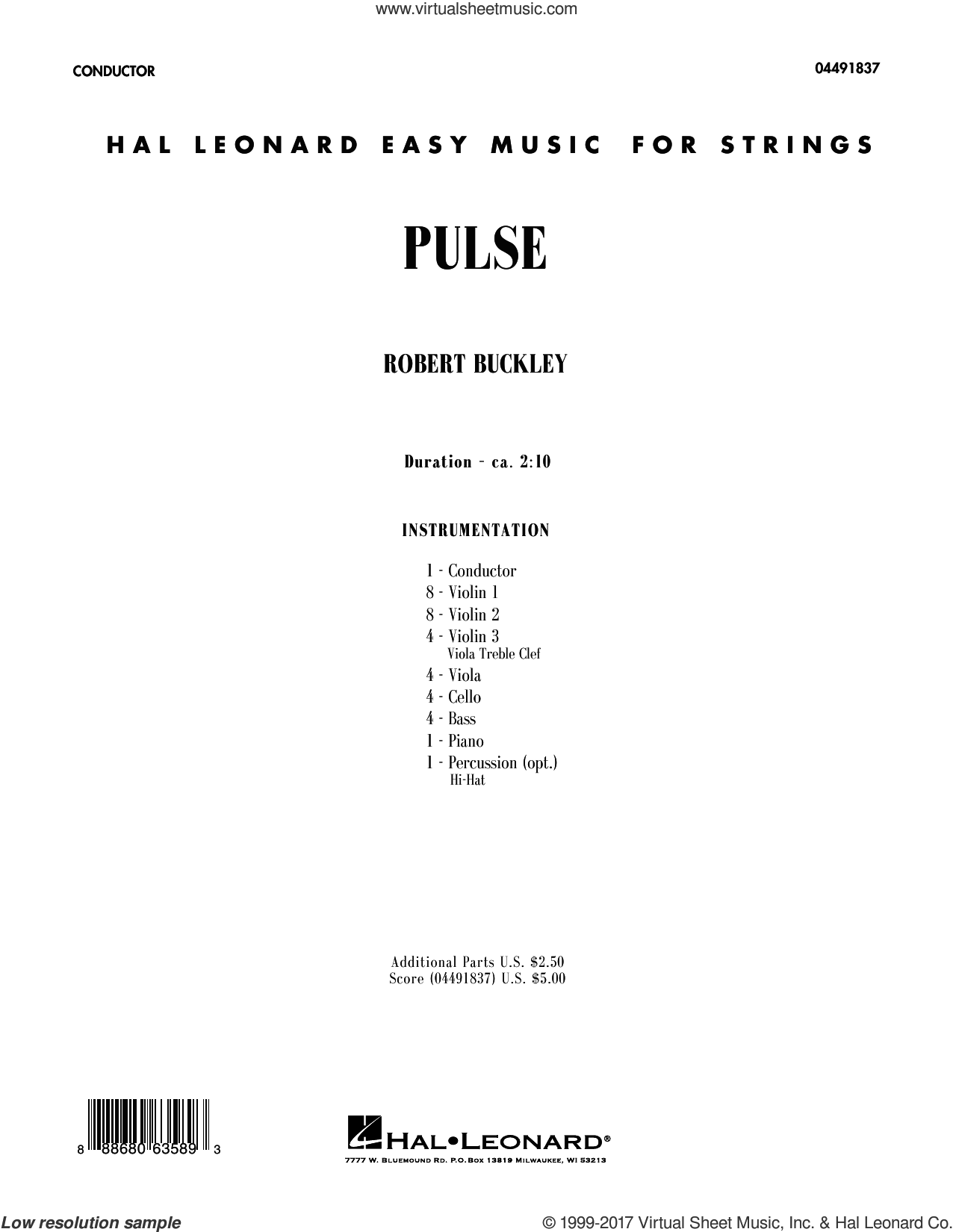 Pulse (COMPLETE) sheet music for orchestra by Robert Buckley, intermediate skill level