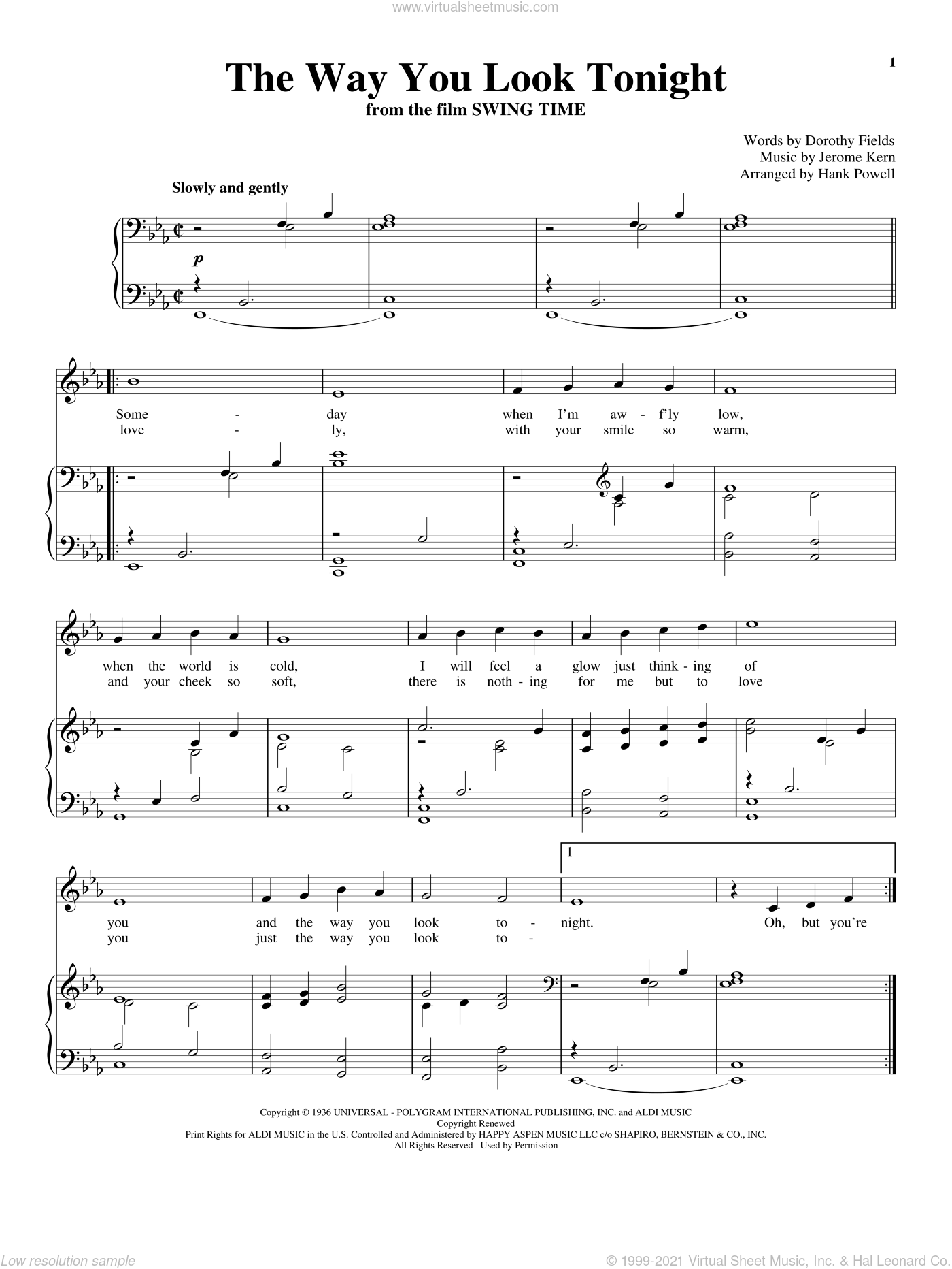 The Way You Look Tonight sheet music for voice and piano by Jerome Kern and Dorothy Fields, wedding score, intermediate skill level