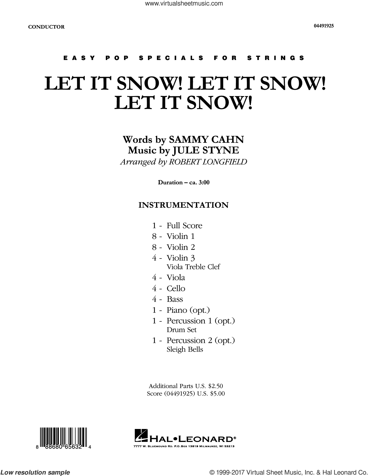 Let It Snow! Let It Snow! Let It Snow! (COMPLETE) sheet music for orchestra by Jule Styne, Joe Nichols and Robert Longfield, intermediate. Score Image Preview.