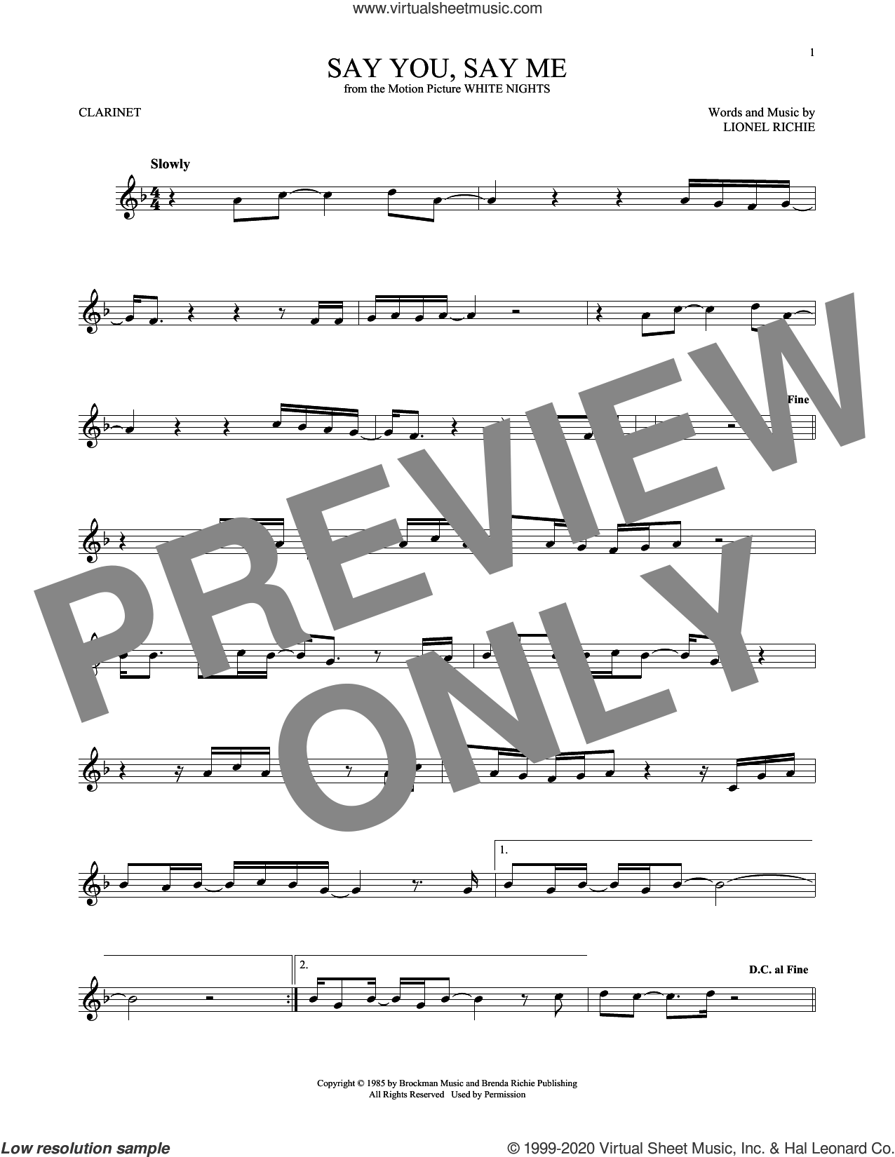 Say You, Say Me sheet music for clarinet solo by Lionel Richie, intermediate skill level