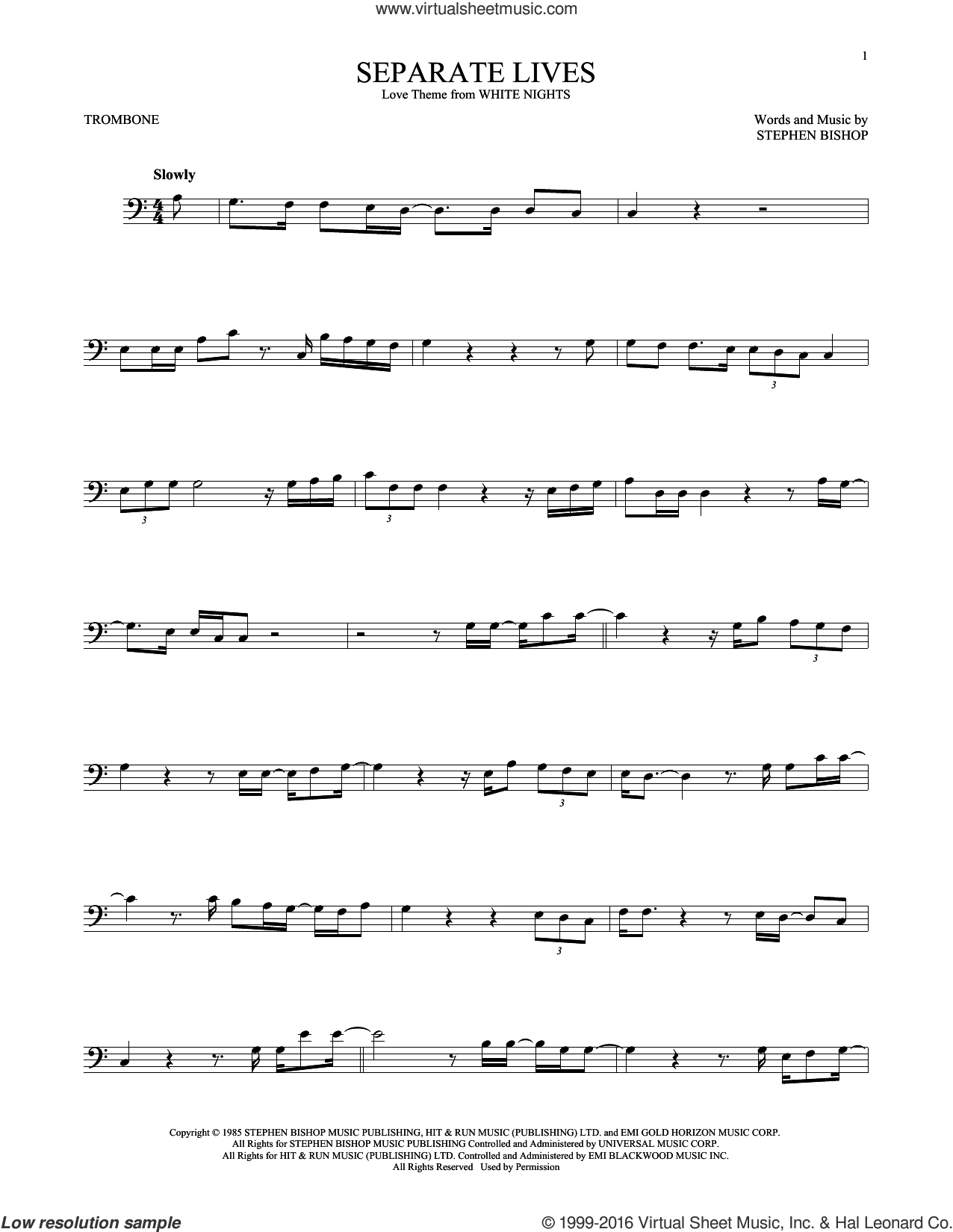 Separate Lives sheet music for trombone solo by Stephen Bishop. Score Image Preview.