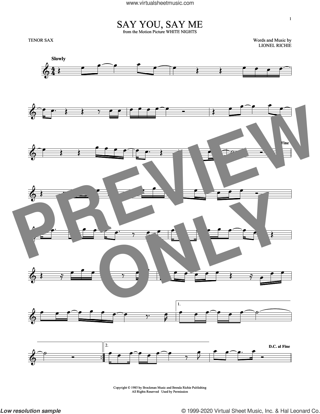 Say You, Say Me sheet music for tenor saxophone solo by Lionel Richie, intermediate skill level