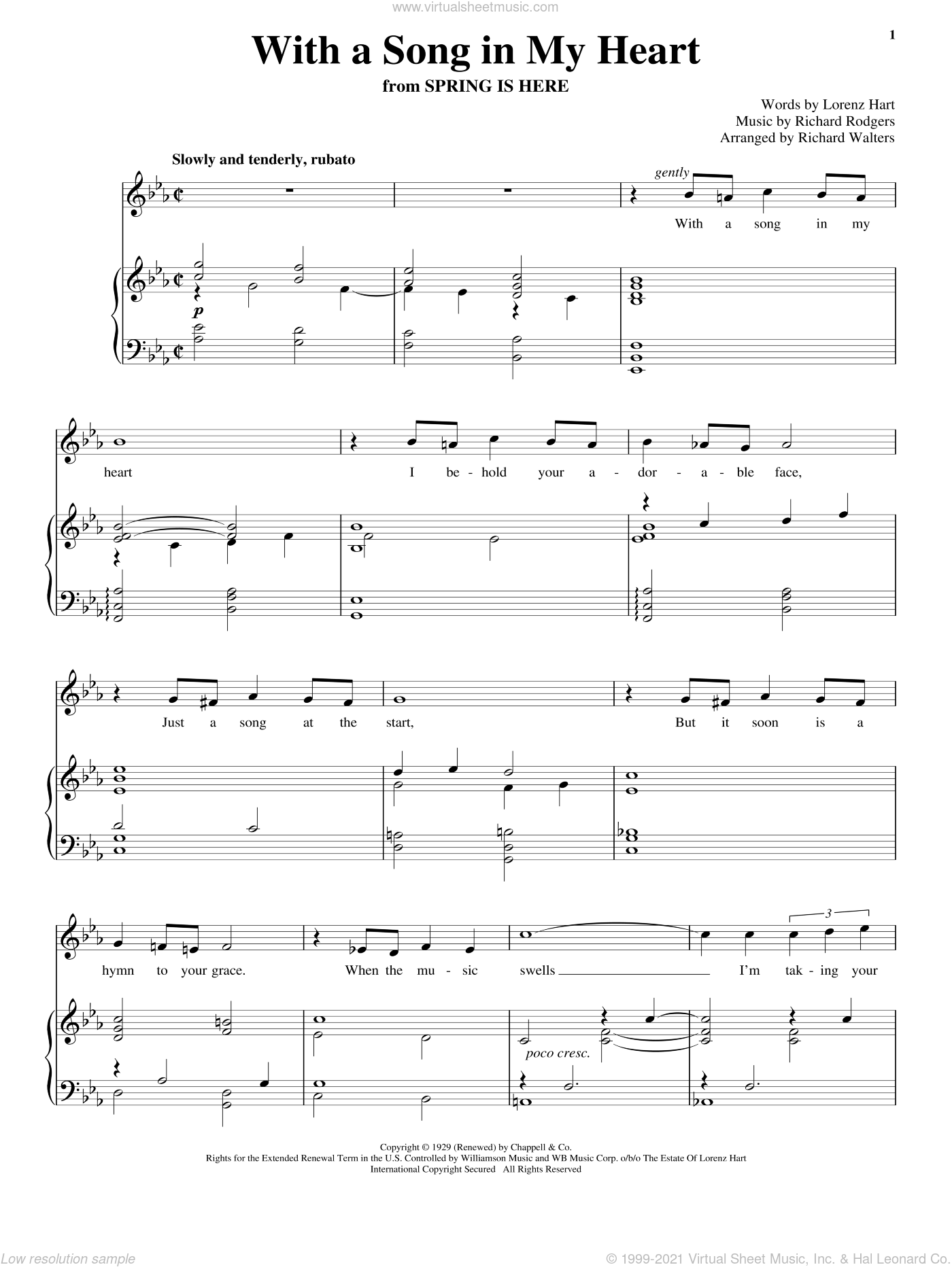 With A Song In My Heart sheet music for voice and piano by Rodgers & Hart, Lorenz Hart and Richard Rodgers, intermediate skill level