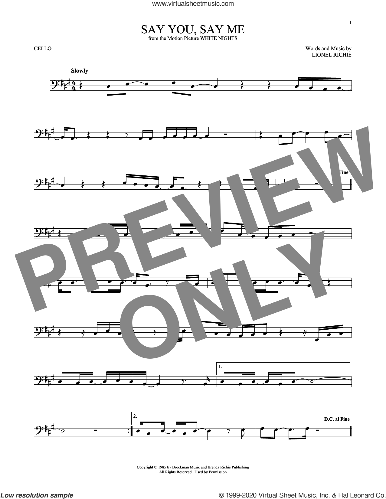 Say You, Say Me sheet music for cello solo by Lionel Richie, intermediate skill level