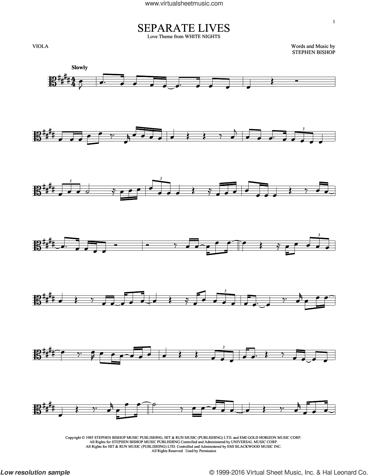 Separate Lives sheet music for viola solo by Stephen Bishop
