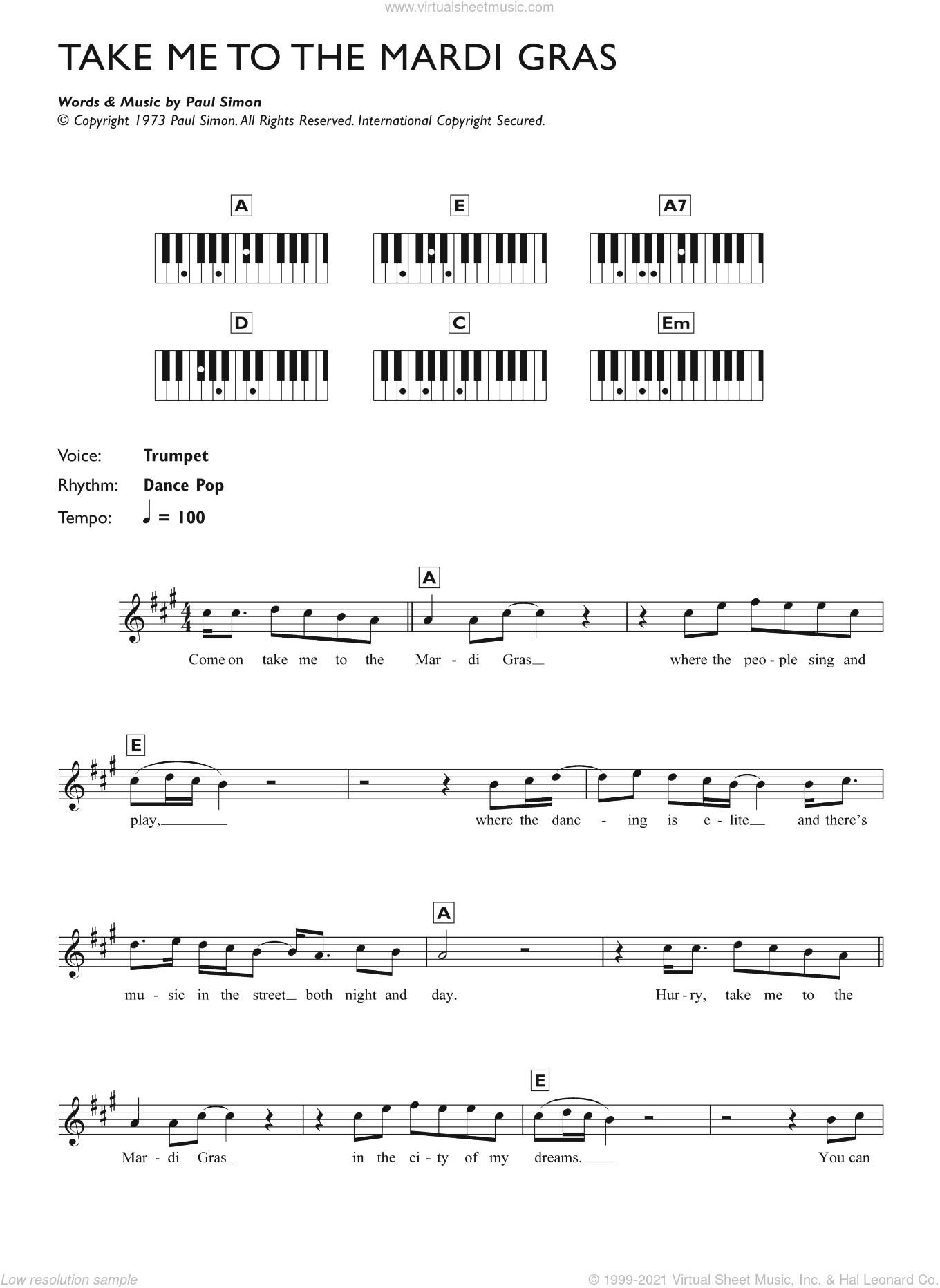 Take Me To The Mardi Gras sheet music for piano solo (chords, lyrics, melody) by Paul Simon, intermediate piano (chords, lyrics, melody)
