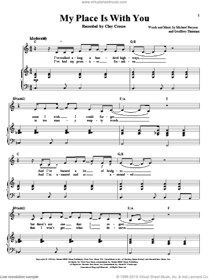 My Place Is With You sheet music for voice and piano by Clay Crosse and Richard Walters, wedding score, intermediate voice. Score Image Preview.