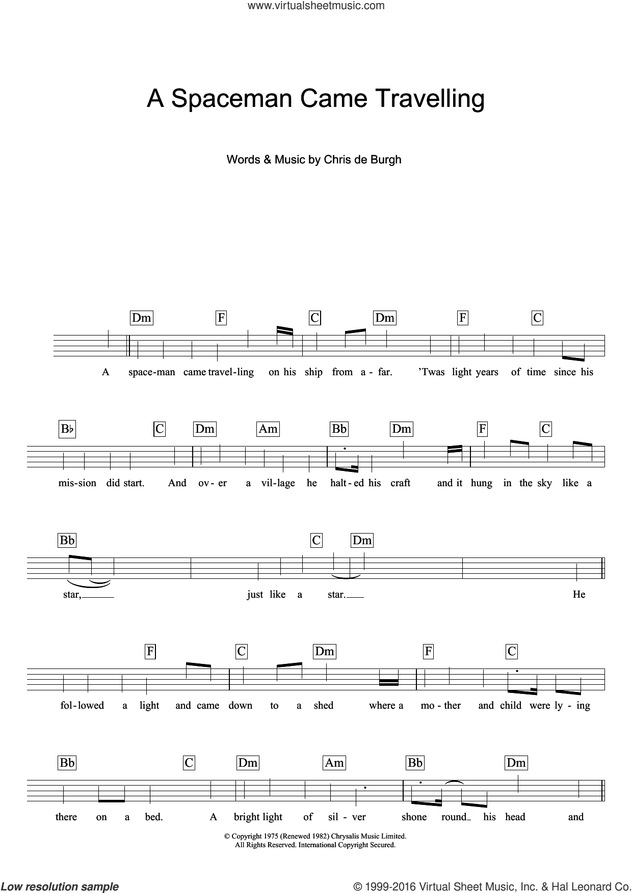 A Spaceman Came Travelling sheet music for voice and other instruments (fake book) by Chris de Burgh, intermediate skill level