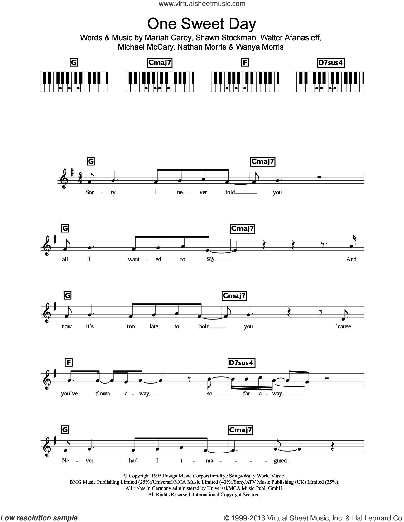 One Sweet Day sheet music for piano solo (chords, lyrics, melody) by Mariah Carey, Michael McCary, Nathan Morris, Shawn Stockman, Walter Afanasieff and Wanya Morris, intermediate piano (chords, lyrics, melody)