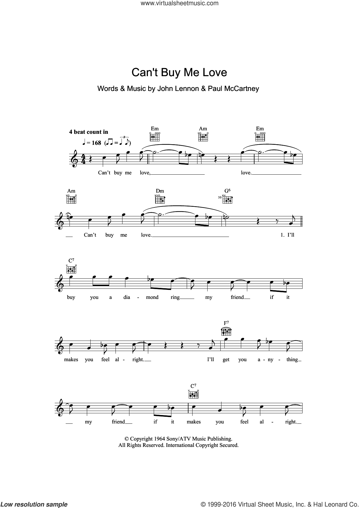 Can't Buy Me Love sheet music for voice and other instruments (fake book) by The Beatles, John Lennon and Paul McCartney, intermediate skill level