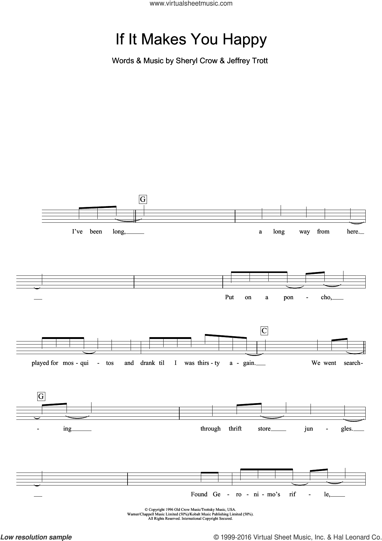 If It Makes You Happy sheet music for voice and other instruments (fake book) by Sheryl Crow and Jeff Trott, intermediate skill level