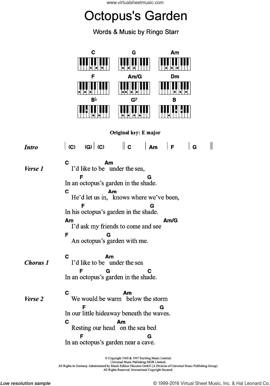 Octopus's Garden sheet music for piano solo (chords, lyrics, melody) by The Beatles and Ringo Starr, intermediate piano (chords, lyrics, melody)