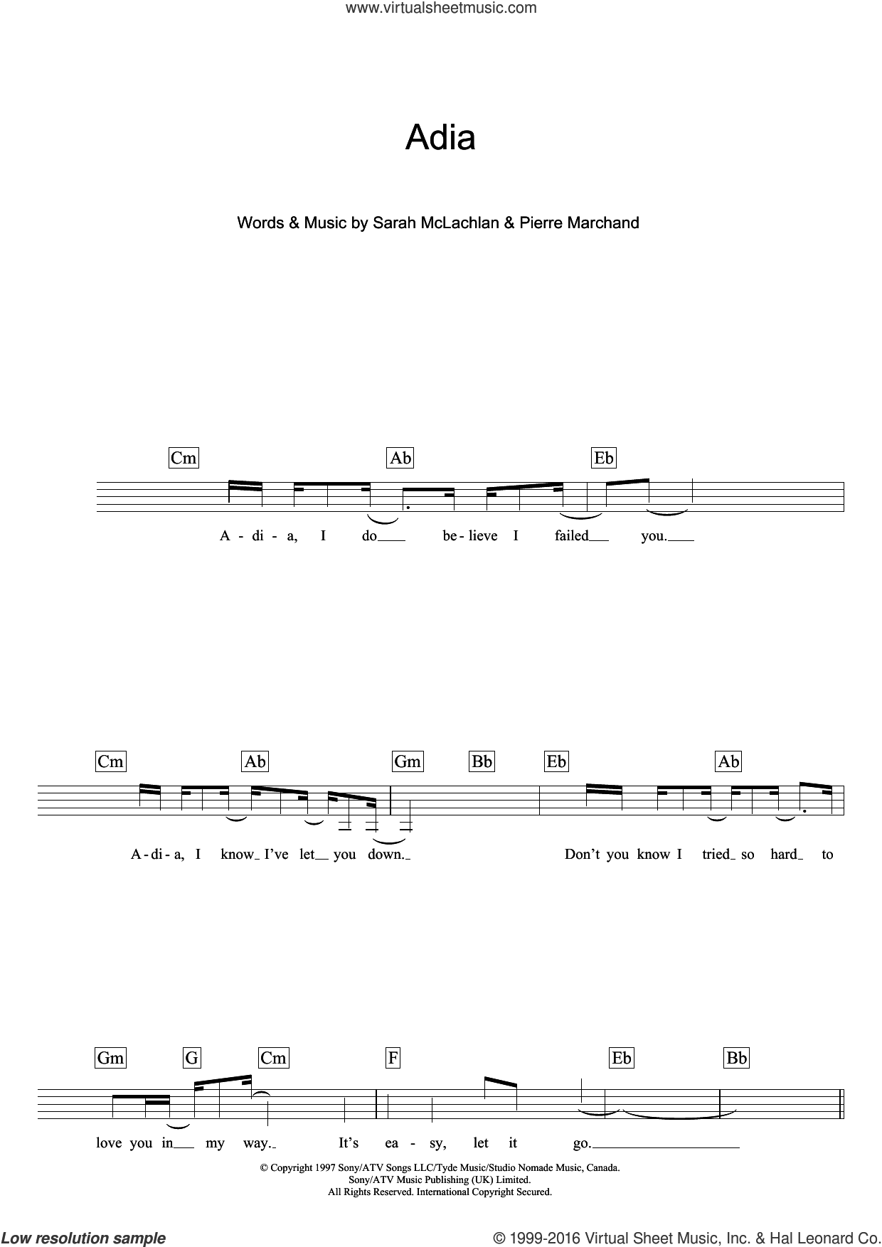 Adia sheet music for voice and other instruments (fake book) by Sarah McLachlan and Pierre Marchand, intermediate skill level