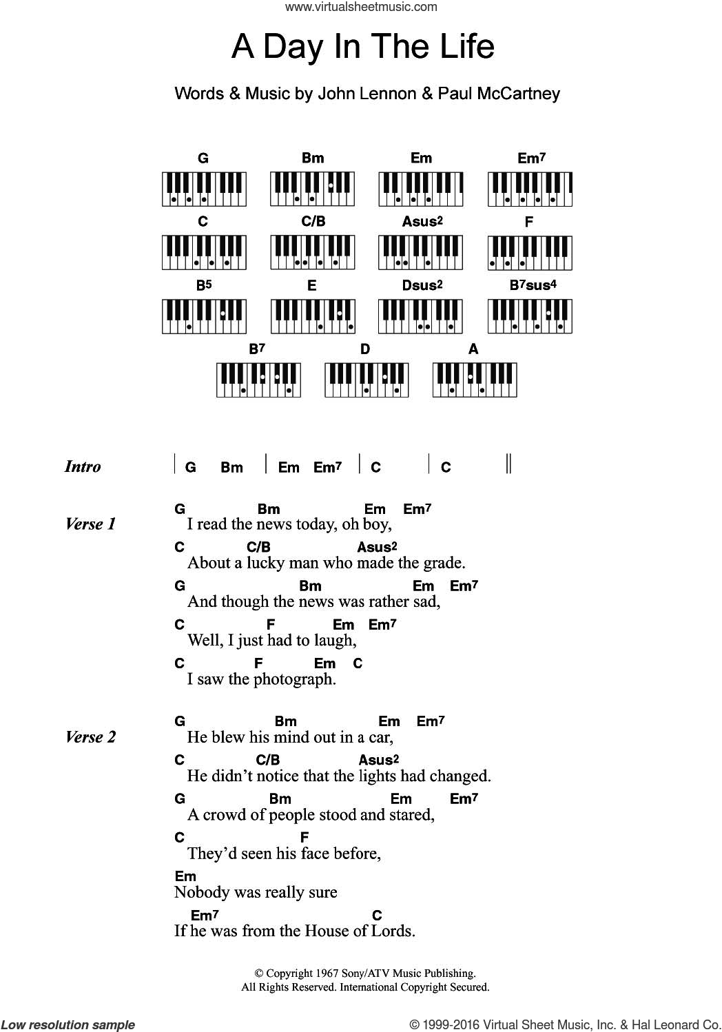 A Day In The Life sheet music for piano solo (chords, lyrics, melody) by The Beatles, John Lennon and Paul McCartney, intermediate piano (chords, lyrics, melody). Score Image Preview.