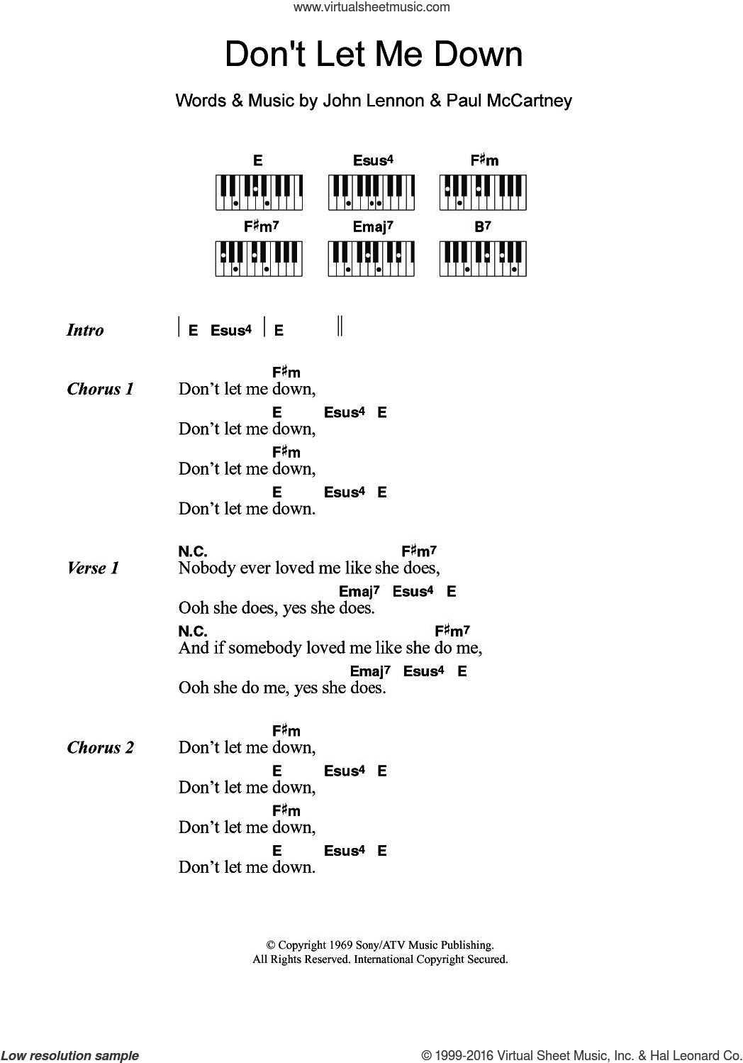 Don't Let Me Down sheet music for piano solo (chords, lyrics, melody) by The Beatles, John Lennon and Paul McCartney, intermediate piano (chords, lyrics, melody). Score Image Preview.