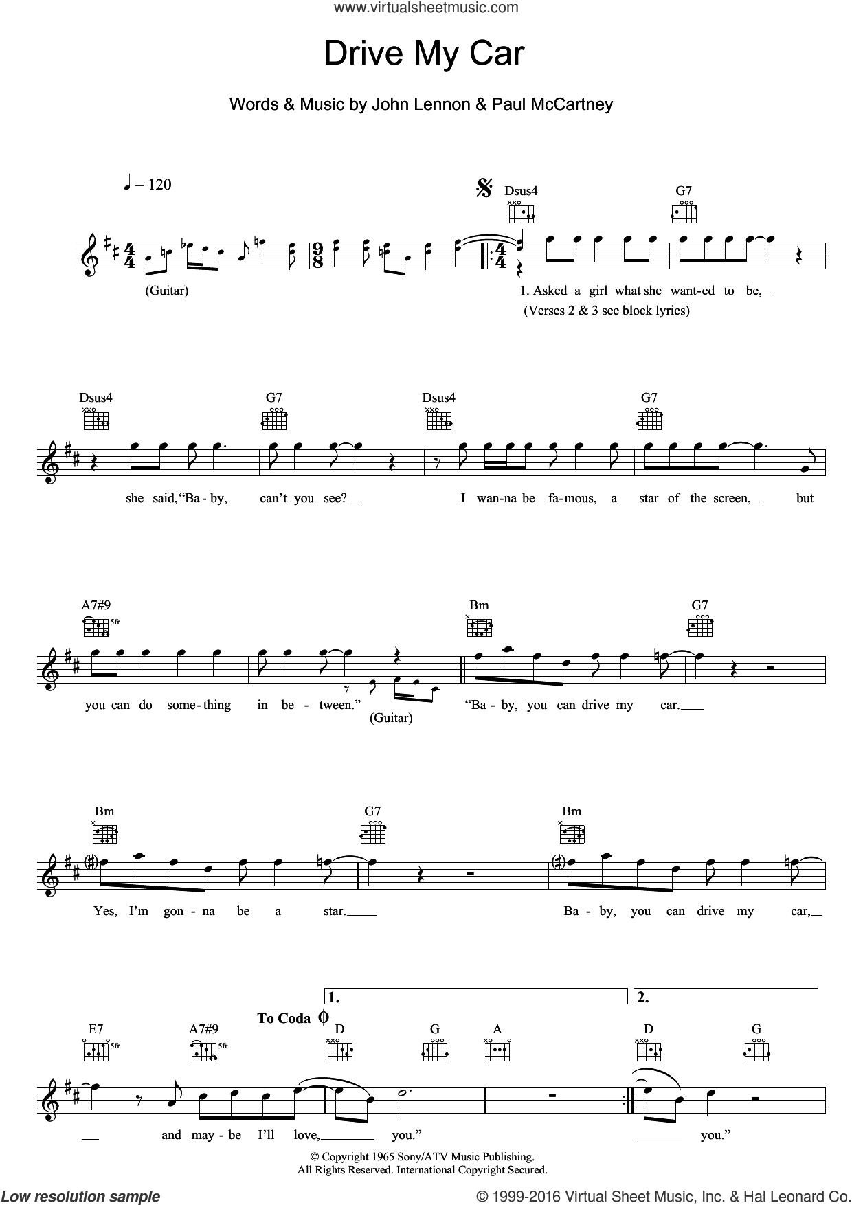 Drive My Car sheet music for voice and other instruments (fake book) by Paul McCartney, The Beatles and John Lennon. Score Image Preview.