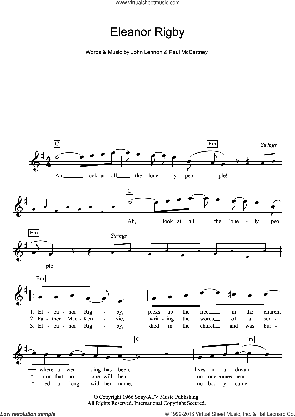 Eleanor Rigby sheet music for voice and other instruments (fake book) by The Beatles, John Lennon and Paul McCartney, intermediate voice. Score Image Preview.