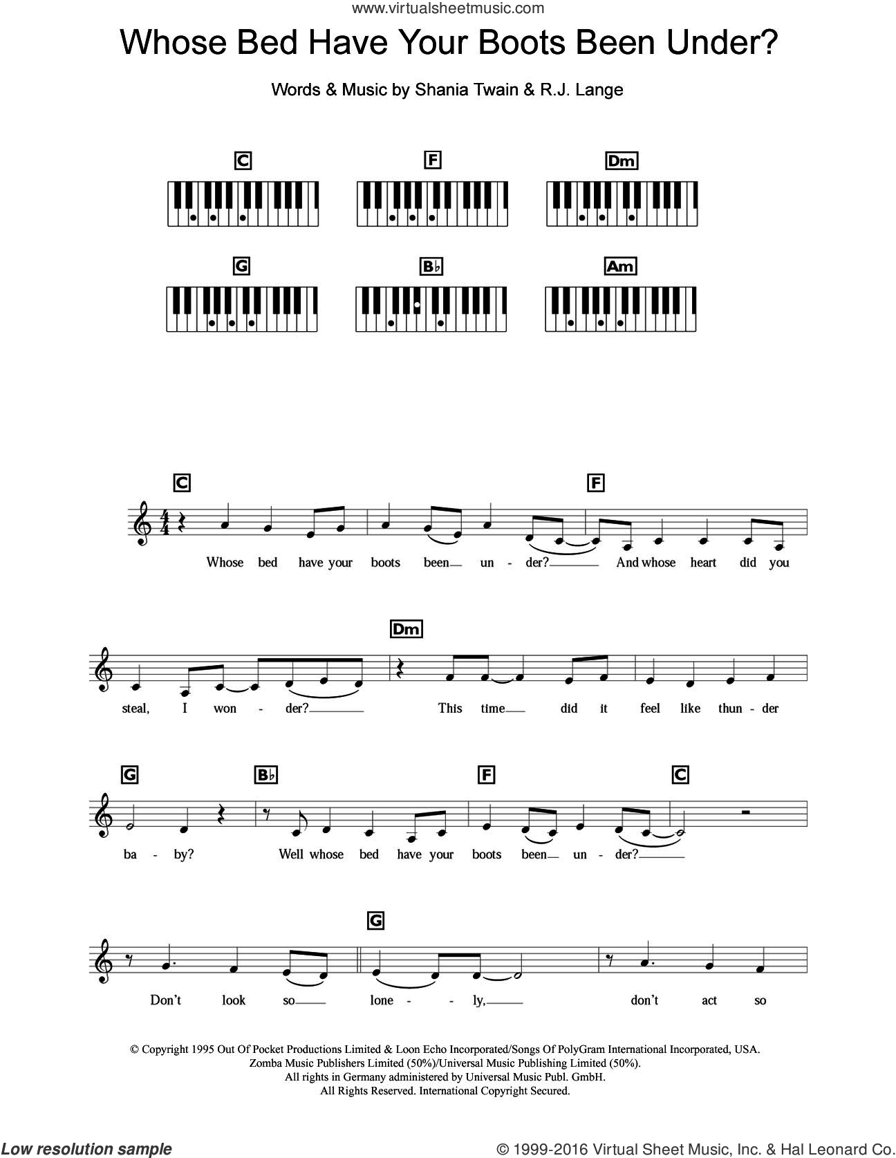 Whose Bed Have Your Boots Been Under? sheet music for piano solo (chords, lyrics, melody) by Robert John Lange and Shania Twain. Score Image Preview.