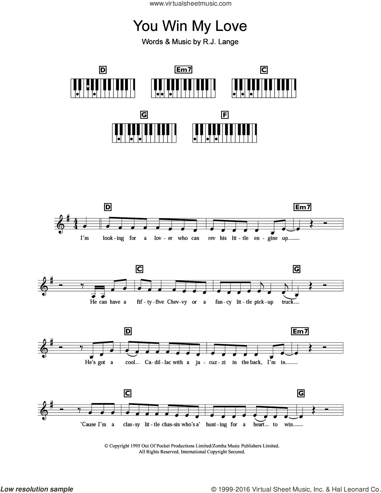 You Win My Love sheet music for piano solo (chords, lyrics, melody) by Shania Twain and Robert John Lange, intermediate piano (chords, lyrics, melody). Score Image Preview.