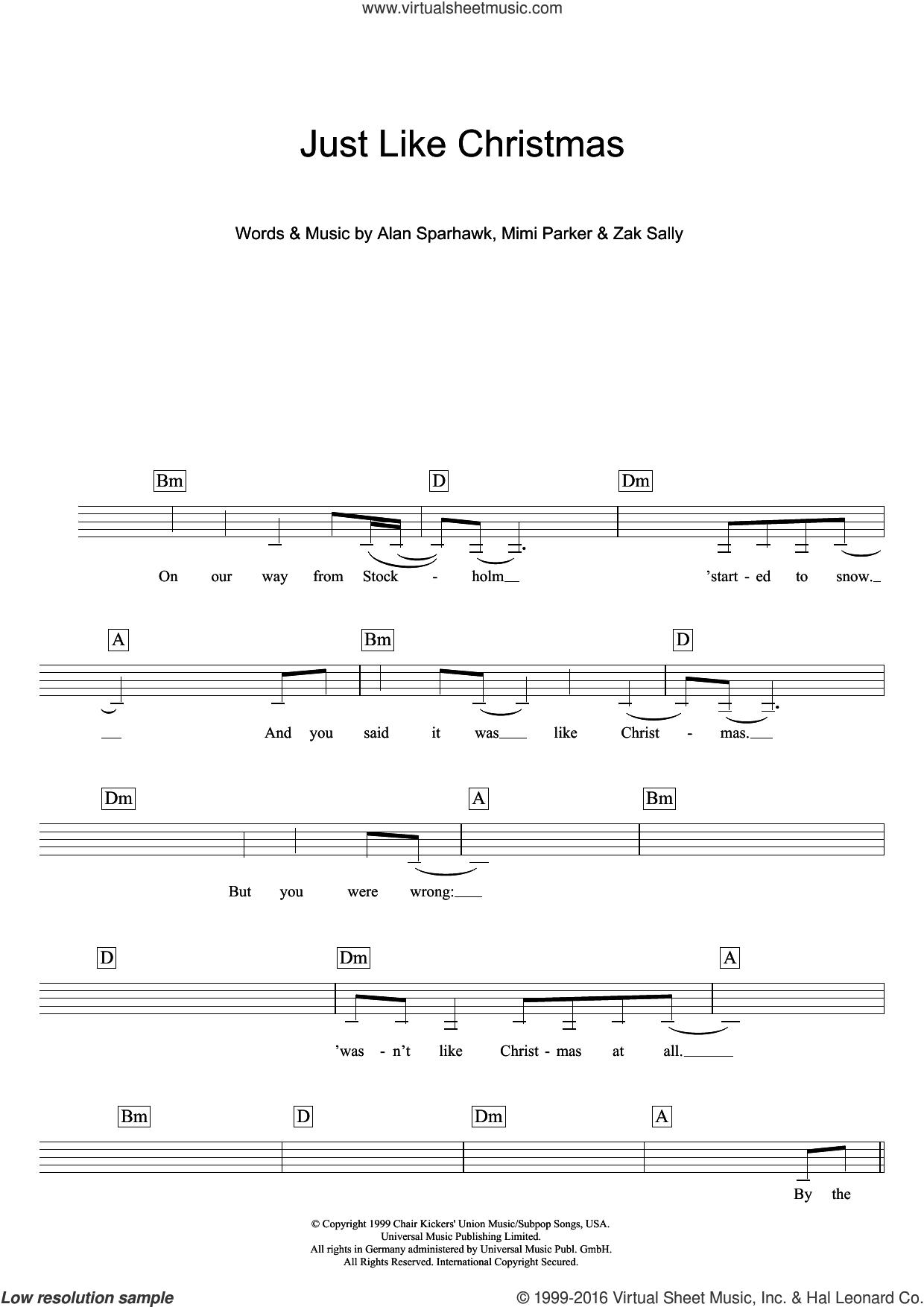 Just Like Christmas sheet music for voice and other instruments (fake book) by Zak Sally and Alan Sparhawk. Score Image Preview.