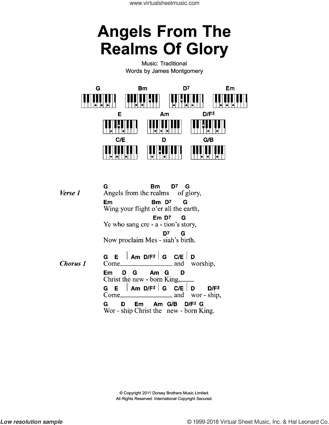 Angels From The Realms Of Glory sheet music for piano solo (chords, lyrics, melody) by James Montgomery and Miscellaneous. Score Image Preview.