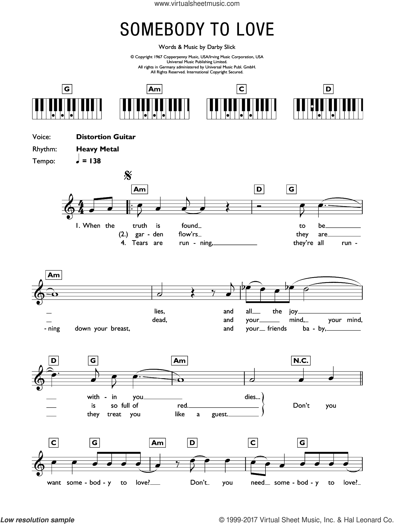 Somebody To Love sheet music for piano solo (chords, lyrics, melody) by Jefferson Airplane and Darby Slick, intermediate piano (chords, lyrics, melody)