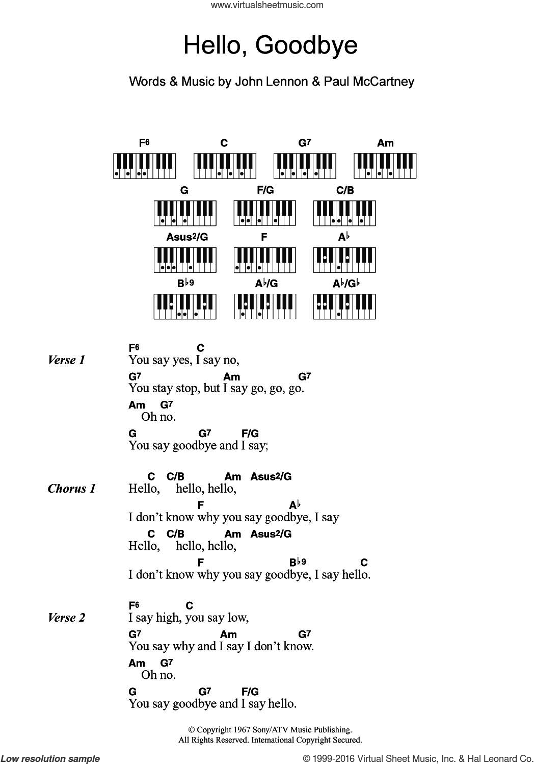 Hello, Goodbye sheet music for piano solo (chords, lyrics, melody) by The Beatles, John Lennon and Paul McCartney, intermediate piano (chords, lyrics, melody)