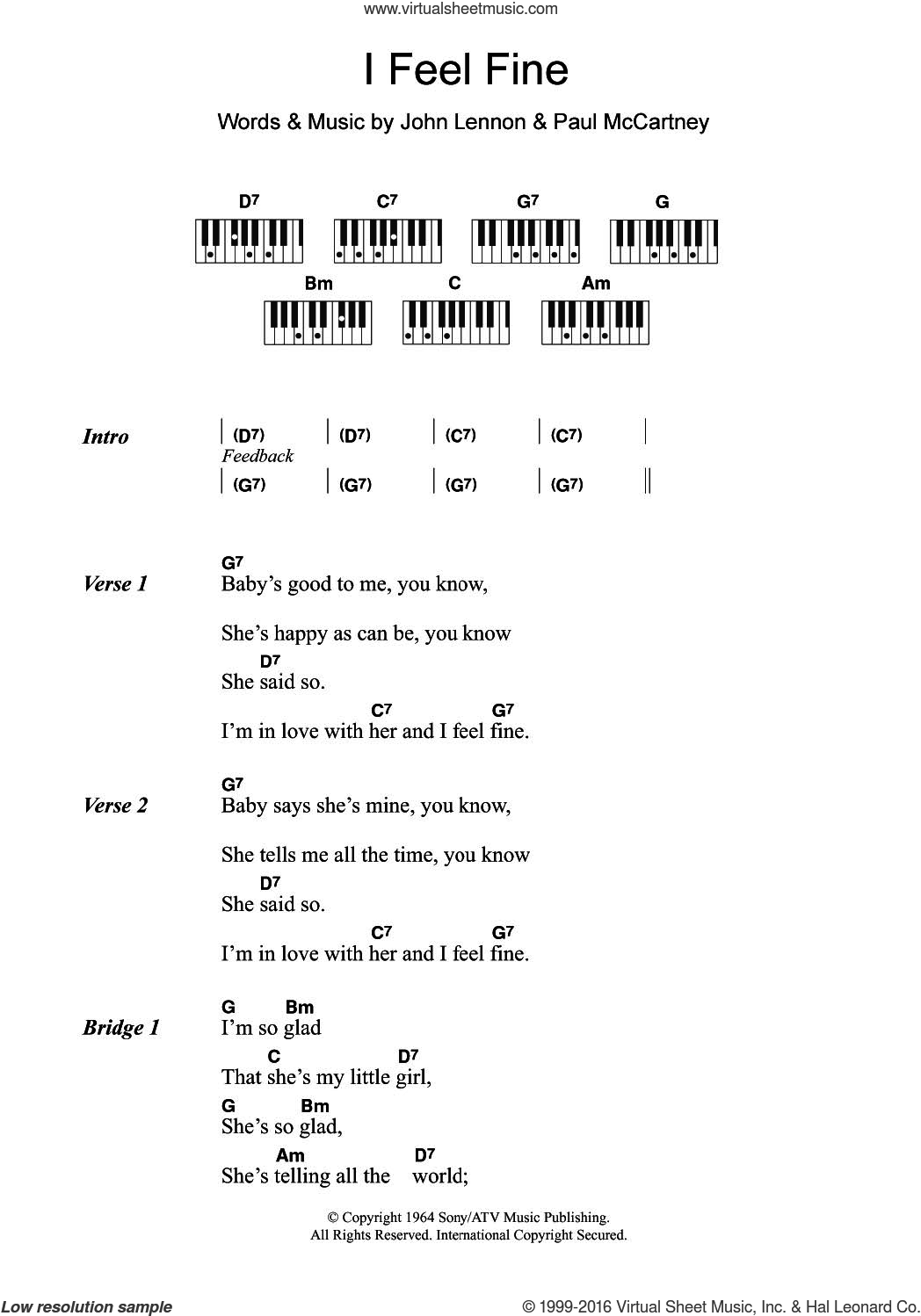 I Feel Fine sheet music for piano solo (chords, lyrics, melody) by Paul McCartney, The Beatles and John Lennon. Score Image Preview.