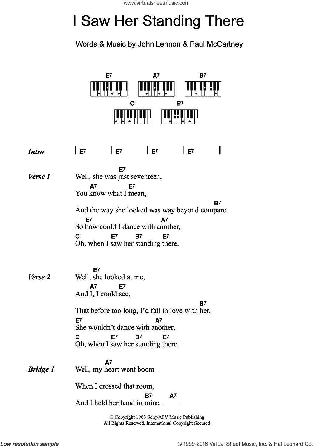 I Saw Her Standing There sheet music for piano solo (chords, lyrics, melody) by The Beatles, John Lennon and Paul McCartney, intermediate piano (chords, lyrics, melody)