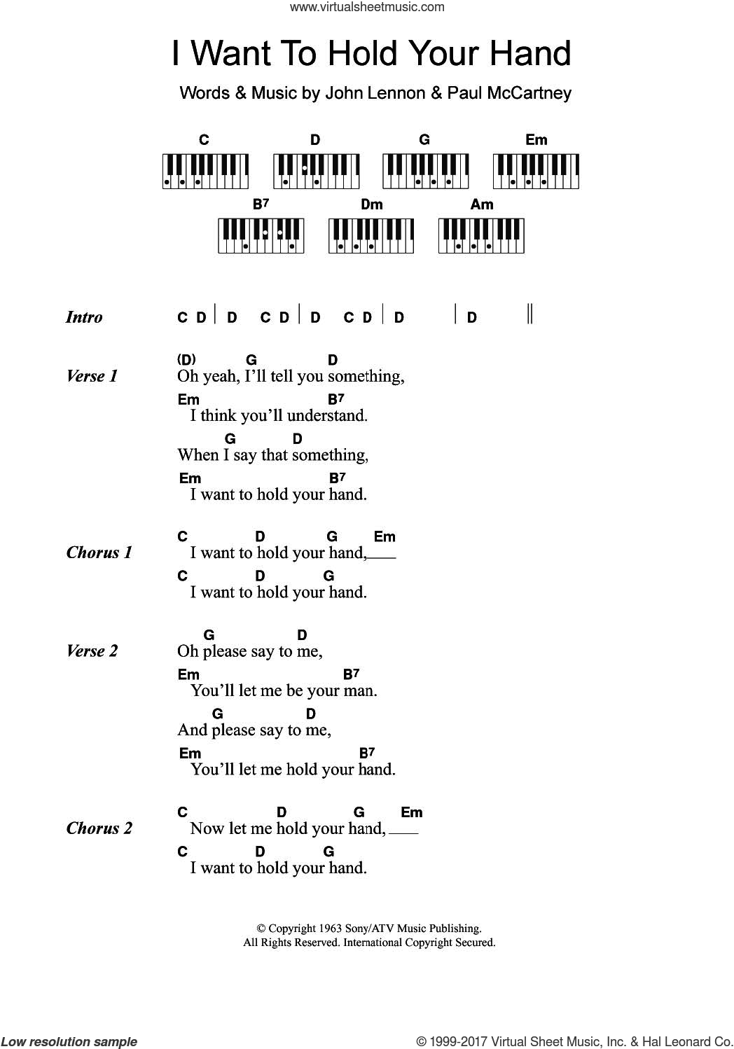 I Want To Hold Your Hand sheet music for piano solo (chords, lyrics, melody) by The Beatles, John Lennon and Paul McCartney, intermediate piano (chords, lyrics, melody)