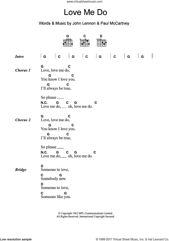 Beatles Love Me Do Sheet Music For Guitar Chords Pdf