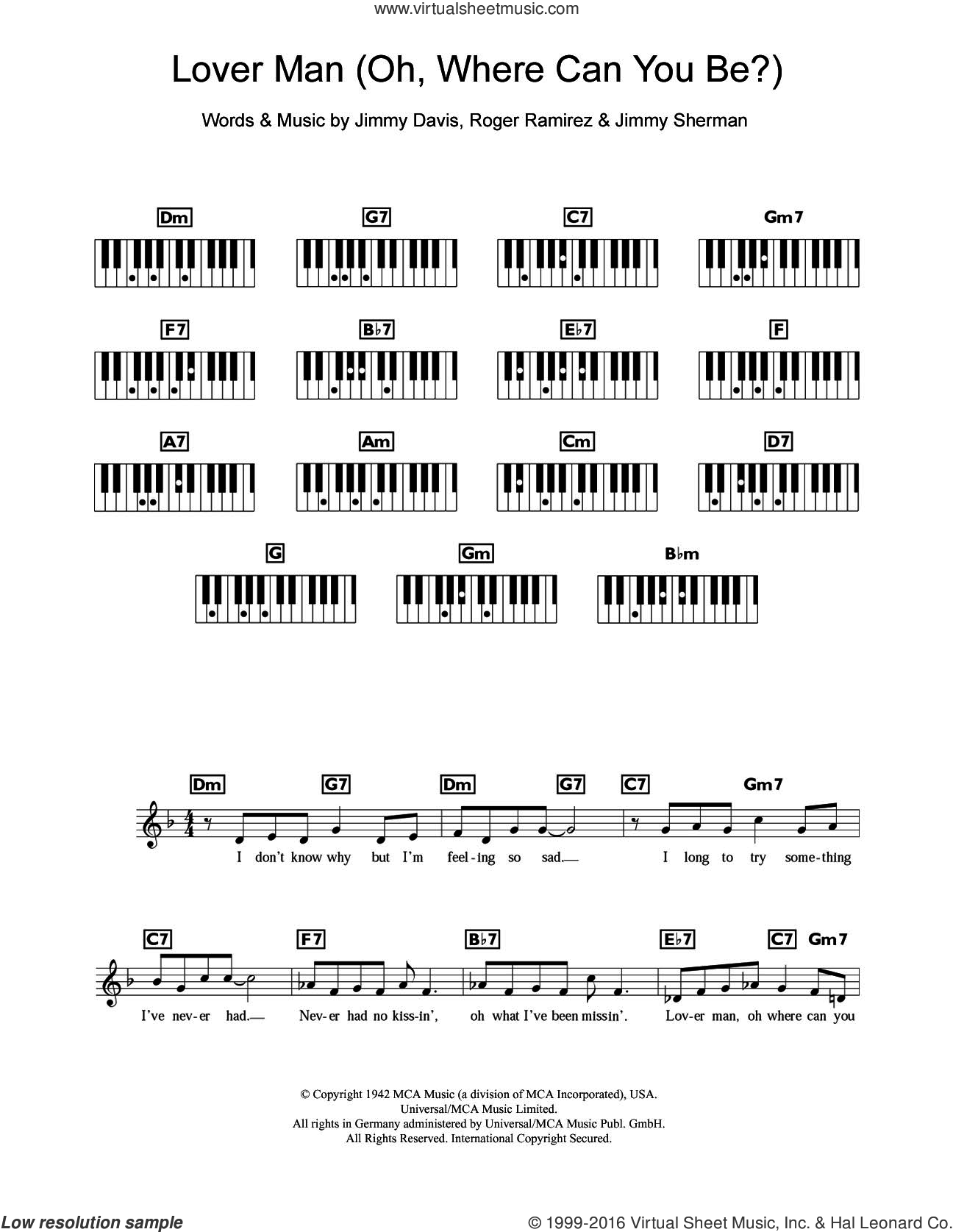 Lover Man (Oh, Where Can You Be) sheet music for piano solo (chords, lyrics, melody) by Billie Holiday, Jimmie Davis, Jimmy Sherman and Roger Ramirez, intermediate piano (chords, lyrics, melody)