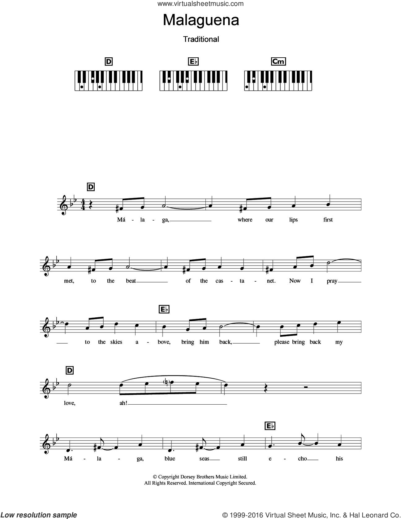 Malaguena sheet music for piano solo (chords, lyrics, melody) by Connie Francis and Miscellaneous, intermediate piano (chords, lyrics, melody). Score Image Preview.