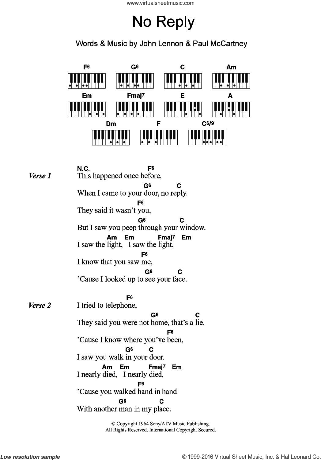No Reply sheet music for piano solo (chords, lyrics, melody) by The Beatles, John Lennon and Paul McCartney, intermediate piano (chords, lyrics, melody). Score Image Preview.