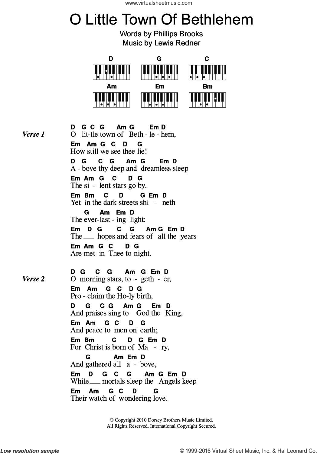 O Little Town Of Bethlehem sheet music for piano solo (chords, lyrics, melody) by Lewis Redner, Miscellaneous and Phillips Brooks, intermediate piano (chords, lyrics, melody)