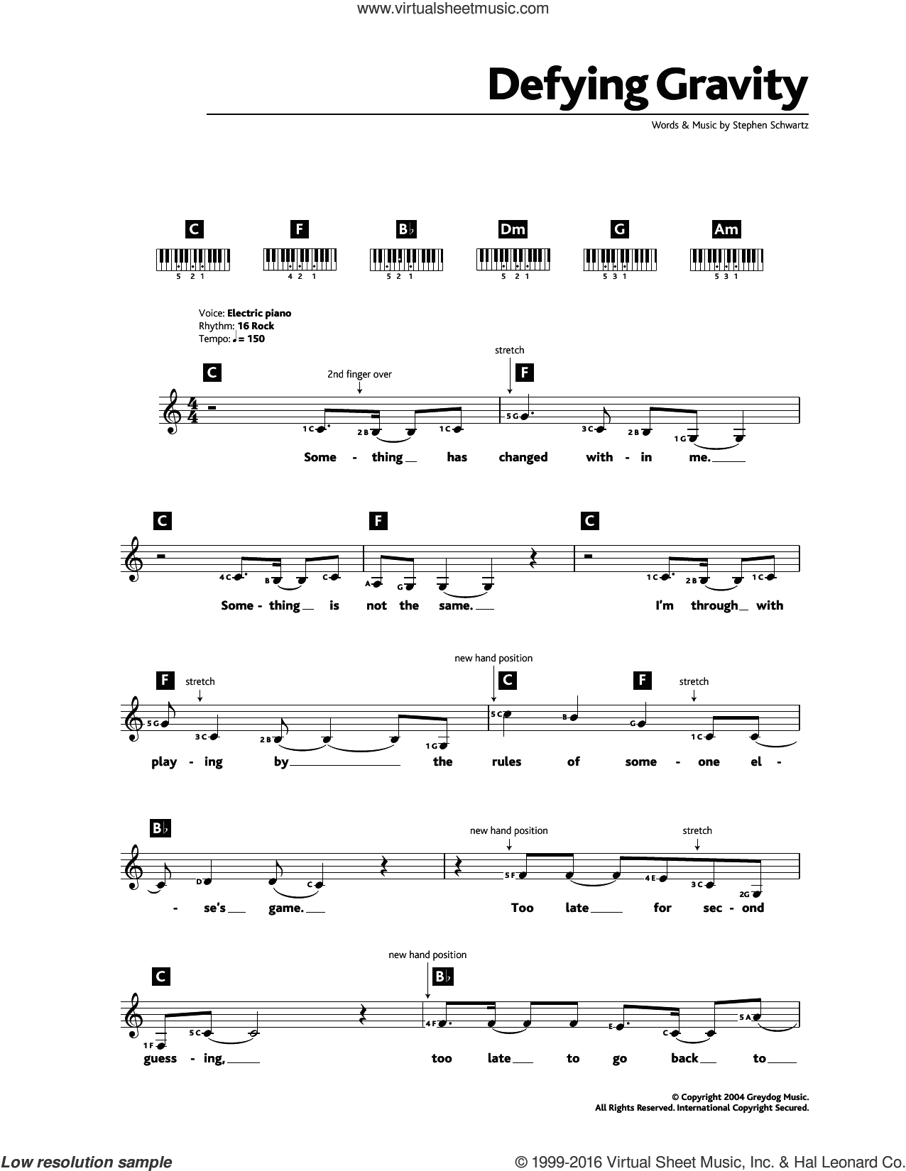 Defying Gravity (from the Broadway Musical Wicked) sheet music for piano solo (chords, lyrics, melody) by Stephen Schwartz, intermediate piano (chords, lyrics, melody). Score Image Preview.