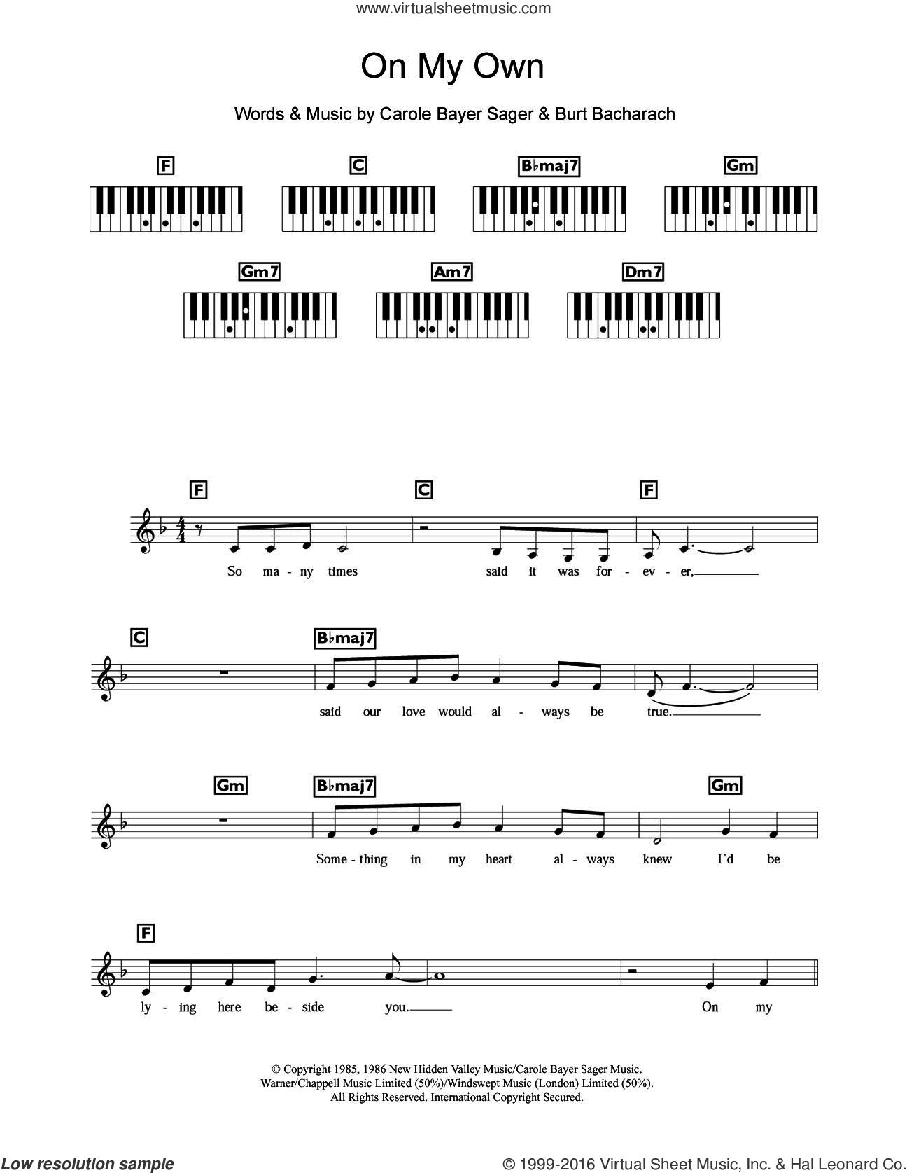 On My Own sheet music for piano solo (chords, lyrics, melody) by Michael MacDonald, Patti LaBelle, Burt Bacharach and Carole Bayer Sager, intermediate piano (chords, lyrics, melody). Score Image Preview.