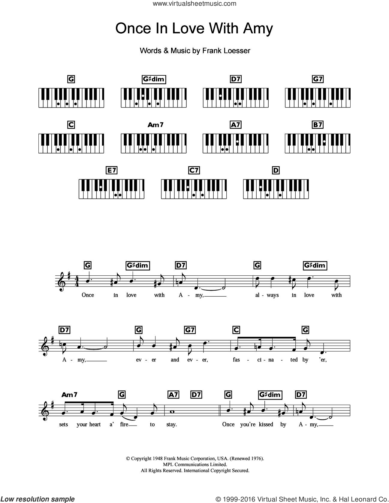 Once In Love With Amy (from Where's Charley?) sheet music for piano solo (chords, lyrics, melody) by Frank Loesser. Score Image Preview.