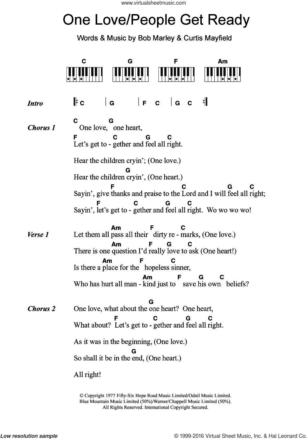 One Love/People Get Ready sheet music for piano solo (chords, lyrics, melody) by Bob Marley and Curtis Mayfield, intermediate piano (chords, lyrics, melody)
