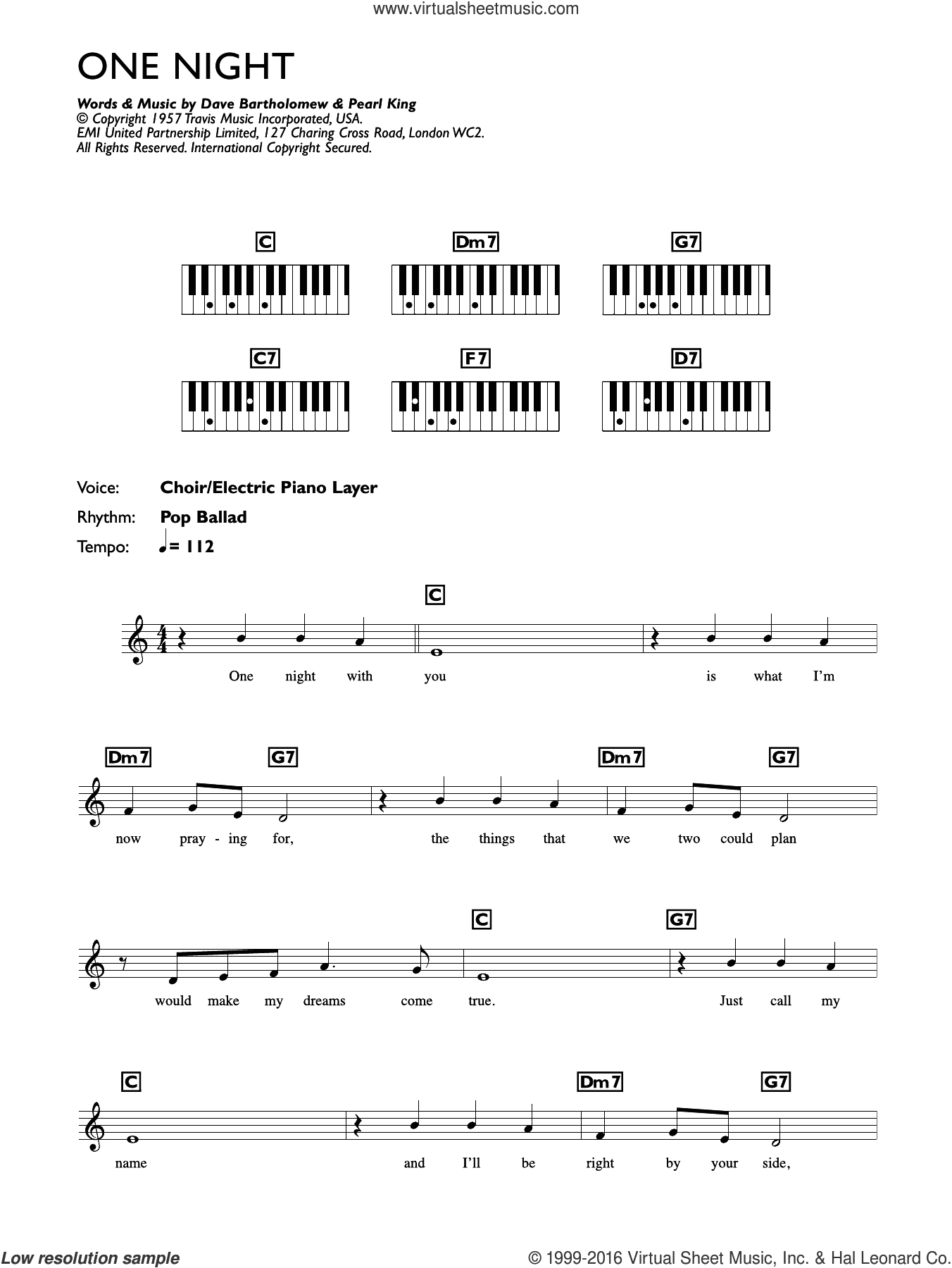 One Night sheet music for piano solo (chords, lyrics, melody) by Pearl King, Elvis Presley and Dave Bartholomew. Score Image Preview.