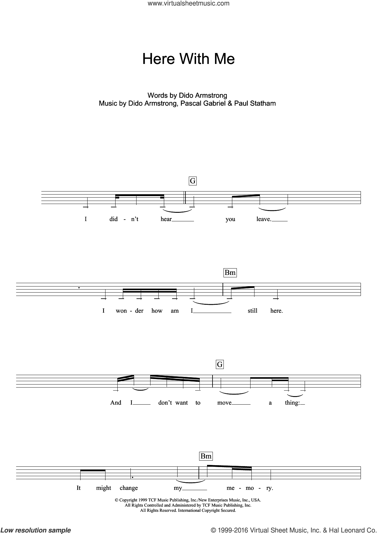 Here With Me (Theme from Roswell) sheet music for voice and other instruments (fake book) by Dido Armstrong, Pascal Gabriel and Paul Statham, intermediate skill level